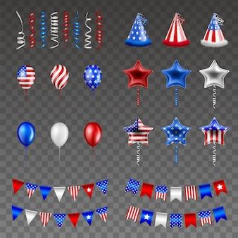Zestaw elementów strony amerykańskiego dnia niepodległości 4 lipca na białym tle serpentyny kapelusze, balony i proporczyki