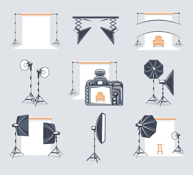 Zestaw elementów studia fotograficznego. logo i emblematy studia fotograficznego.