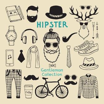 Zestaw elementów stylu hipster męskiego charakteru. ręcznie rysowane elementy funky dla twojego projektu. charakter hipster i styl włosów rysunek z brodą ilustracji