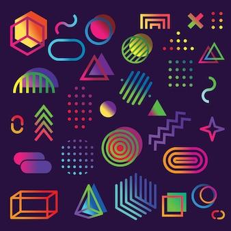 Zestaw elementów stylu retro memphis, retro funky grafiki, projekty trendów z lat 90.