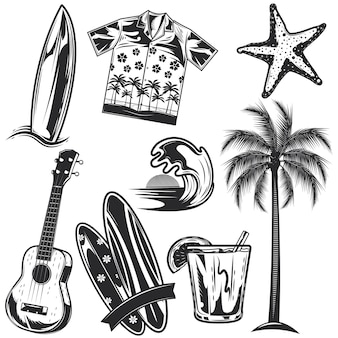 Zestaw elementów surfingowych do tworzenia własnych odznak, logo, etykiet, plakatów itp. na białym tle.