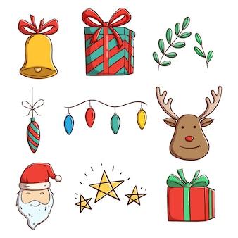 Zestaw elementów świątecznych do dekoracji z doodle lub ręcznie rysowane styl