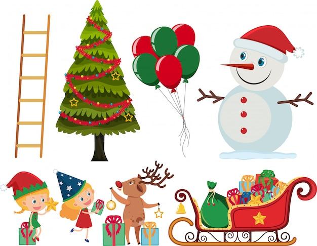 Zestaw elementów świątecznych na białym tle
