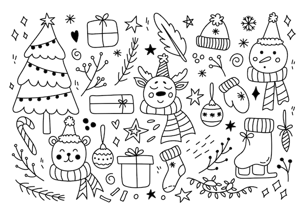 Zestaw elementów świątecznych w stylu doodle