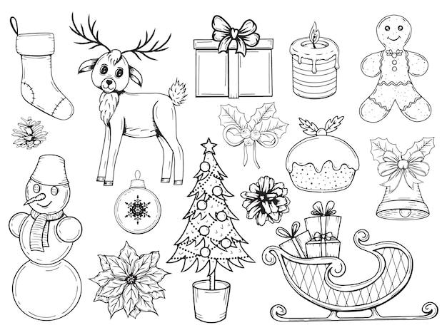 Zestaw elementów świątecznych wyciągnąć rękę. tradycyjne obiekty zimowe. ilustracja. na białym tle. obiekt do pakowania, reklamy, menu.