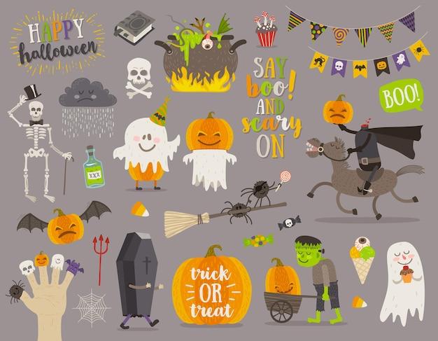 Zestaw elementów symboli znaku halloween i postaci z kreskówek