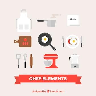 Zestaw elementów szefa kuchni w płaskim stylu