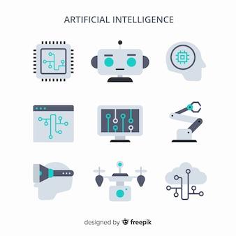 Zestaw elementów sztucznej inteligencji w płaskiej konstrukcji