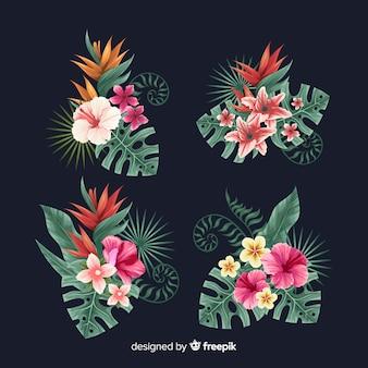 Zestaw elementów tropikalnych kwiatów