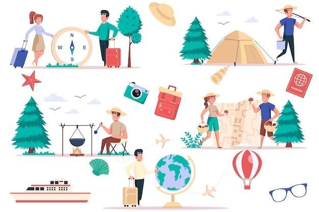 Zestaw elementów turystycznych i kempingowych wiązka ludzi idzie na wędrówkę, relaks z namiotami na łonie natury