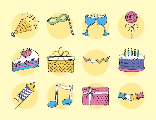 Zestaw elementów uroczystości urodzinowych