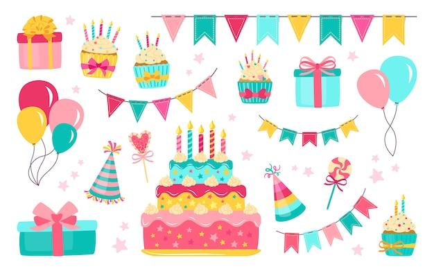 Zestaw elementów urodzinowych. kolorowe balony celebracja jedzenie i cukierki. kreskówka obecny tort, świeca, pudełko, babeczka. strona płaska elementy, balony, deser słodycze. ilustracja na białym tle