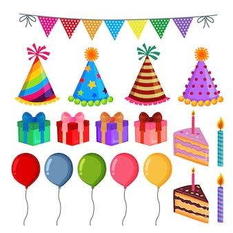 Zestaw elementów urodziny ładny przyjęcie
