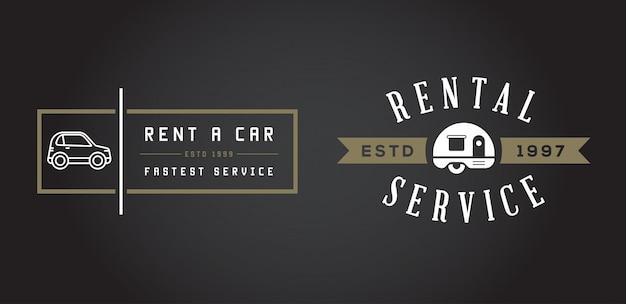 Zestaw elementów usługi wynajmu samochodu może być używany jako logo lub ikona w najwyższej jakości