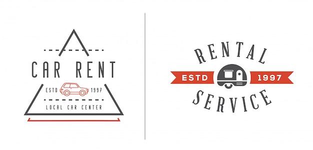 Zestaw elementów usługi wypożyczalni samochodów może służyć jako logo lub ikona w najwyższej jakości