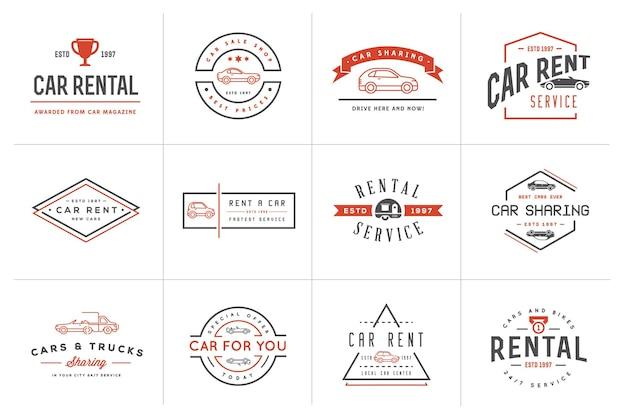 Zestaw elementów usługi wypożyczalni samochodów vector może być używany jako logo lub ikona w jakości premium