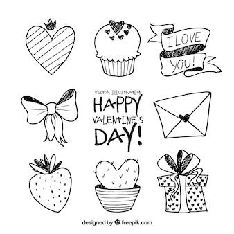Zestaw elementów valentine doodle