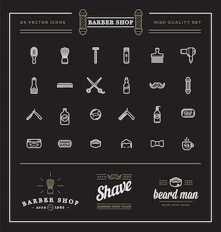 Zestaw elementów vector barber shop i ilustracji ikon sklepu golenie może być używany jako logo lub ikona w jakości premium
