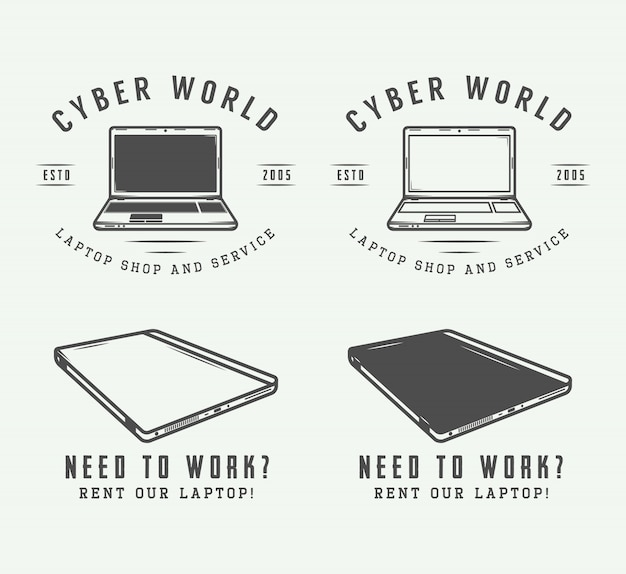 Zestaw elementów vintage logo, godło, odznaka i projekt laptopa.