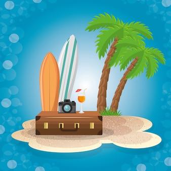Zestaw elementów wakacji letnich
