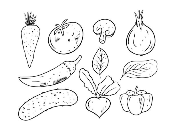 Zestaw elementów warzyw na białym tle