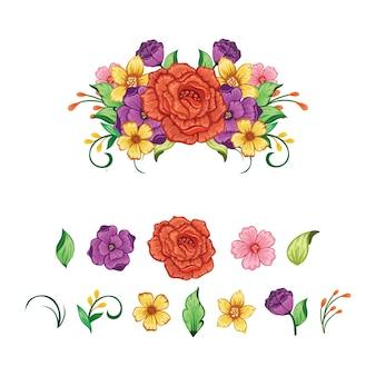 Zestaw elementów wektora kwiatowy