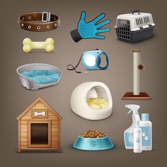 Zestaw elementów wektorowych dla zwierząt domowych z obrożą, smyczą, nosidełkiem, zabawkami, plastikowym i miękkim domem dla zwierząt domowych, budą dla psów, miską i butelkami na białym tle