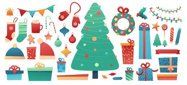Zestaw elementów wesołych świąt bożego narodzenia