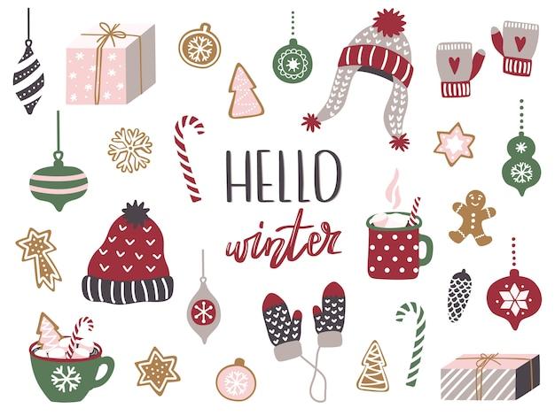 Zestaw elementów wesołych świąt i szczęśliwego nowego roku.