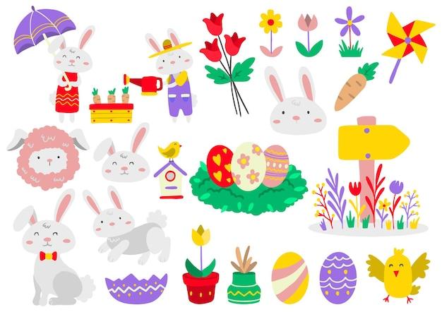 Zestaw elementów wielkanocnych z malowanymi jajkami i zwierzętami. wesołych świąt wielkanocnych