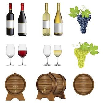 Zestaw elementów wina. pojedyncze butelki wina, kieliszki, beczki i winogrona
