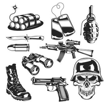 Zestaw elementów wojskowych