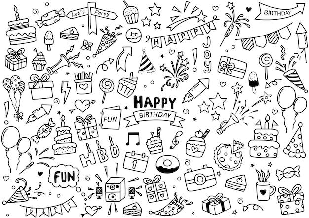 Zestaw elementów wszystkiego najlepszego doodle na białym tle ilustracji wektorowych