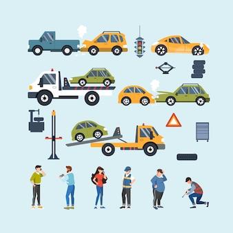 Zestaw elementów wypadku samochodowego i pomocy drogowej. ubezpieczenie motoryzacyjne. płaska ilustracja.
