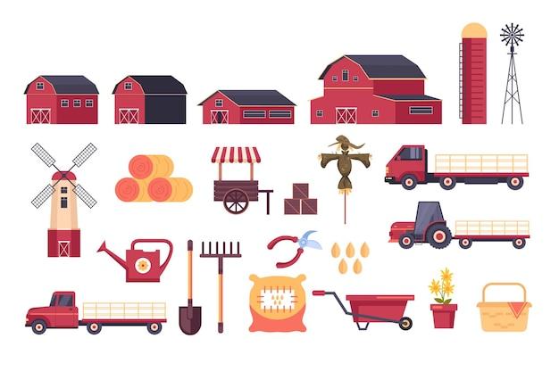 Zestaw elementów wyposażenia narzędzi gospodarstwa na białym tle.