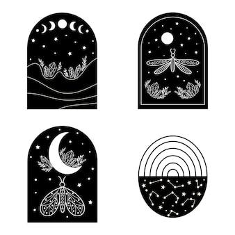 Zestaw elementów wystroju niebiańskiego krajobrazu. ilustracja wektorowa.