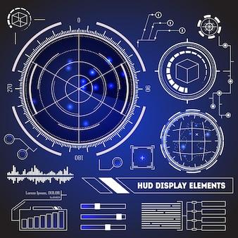 Zestaw elementów wyświetlacza futurystycznej technologii hud.