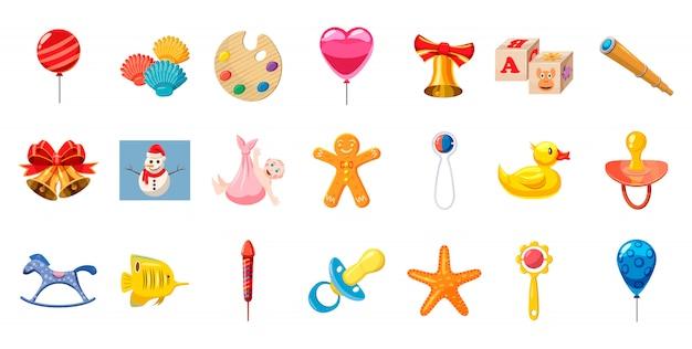 Zestaw elementów zabawek dla dzieci. kreskówka zestaw zabawek dla dzieci