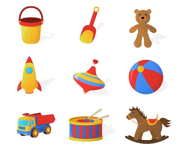 Zestaw elementów zabawek dla dzieci na białym tle. styl kreskówki. ilustracja wektorowa.