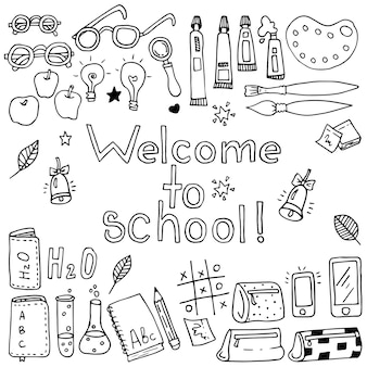 Zestaw elementów zabawny szkoła wektor. czarny i biały