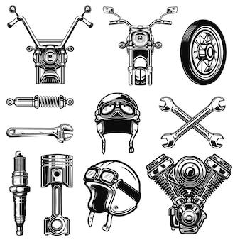 Zestaw elementów zabytkowych motocykli na białym tle. element logo, etykieta, godło, znak, plakat, koszulka. ilustracja