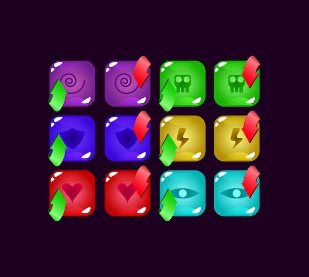 Zestaw elementów zasobów interfejsu gry kolorowe galaretki gui