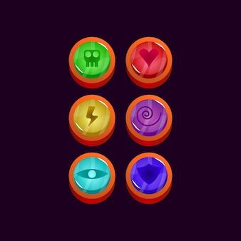 Zestaw elementów zasobu gui błyszczącego zaokrąglonego galaretki interfejsu gry
