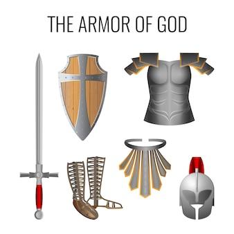 Zestaw elementów zbroi boga na białym tle. długi miecz ducha, oddech, sandały gotowości, pas prawdy, gotowość drewniana tarcza wiary, zbroja hełmu zbawienia.