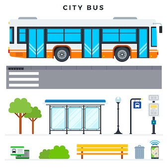Zestaw elementów zewnętrznych i miejskich