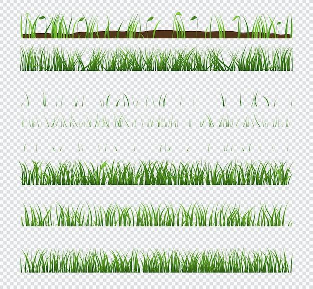Zestaw elementów zielona trawa z roślinami na przezroczystym tle