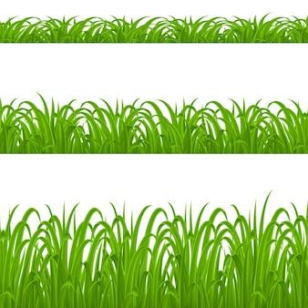 Zestaw elementów zielonej trawie na białym tle do projektowania