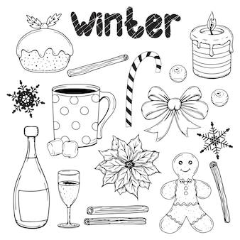 Zestaw elementów zimowych wyciągnąć rękę. boże narodzenie tradycyjne przedmioty. ilustracja.