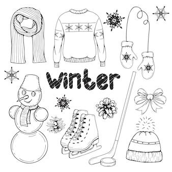 Zestaw elementów zimowych wyciągnąć rękę. tradycyjne ubrania i dodatki. ilustracja. czarny i biały. na białym tle. obiekt do pakowania, reklamy, menu.