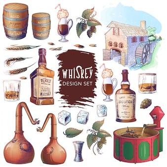 Zestaw elementów związanych z whisky. przydatny do brandingu i dekoracji pubu lub gorzelni